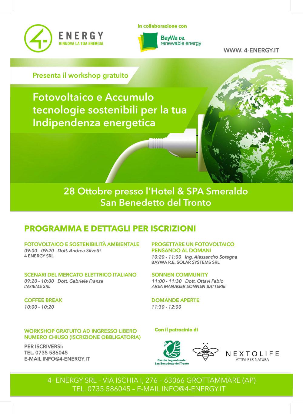 Fotovoltaico e Accumulo, tecnologie sostenibili per la tua indipendenza energetica: il 28 ottobre a San Benedetto del Tronto